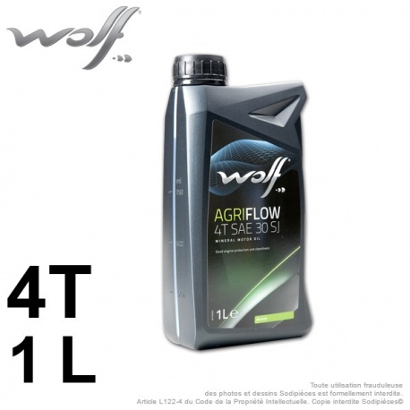 Huile moteur 4 Temps SAE 30 SJ WOLF Agriflow – 1 litre