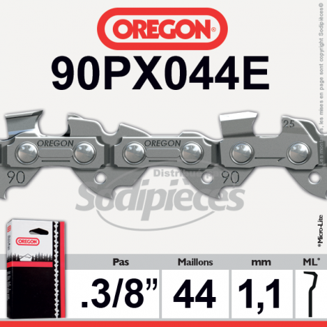 Chaîne de tronçonneuse 44 maillons 3/8″LP, 1,1mm, OREGON Micro-Lite semi carrée