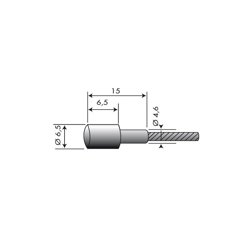 Câble souple Ø 2,5 mm. L : 2,5 m. Embout cylindrique étagé 6,5 x 6,5 mm.