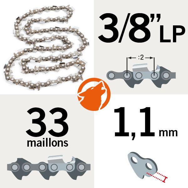 Chaîne de tronçonneuse 33 maillons 3/8″LP, 1,1mm, KERWOOD semi carrée