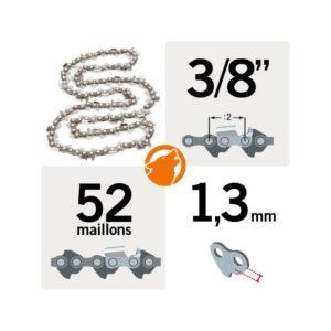 Chaîne tronçonneuse KERWOOD 52 maillons 3/8″, 1,3mm