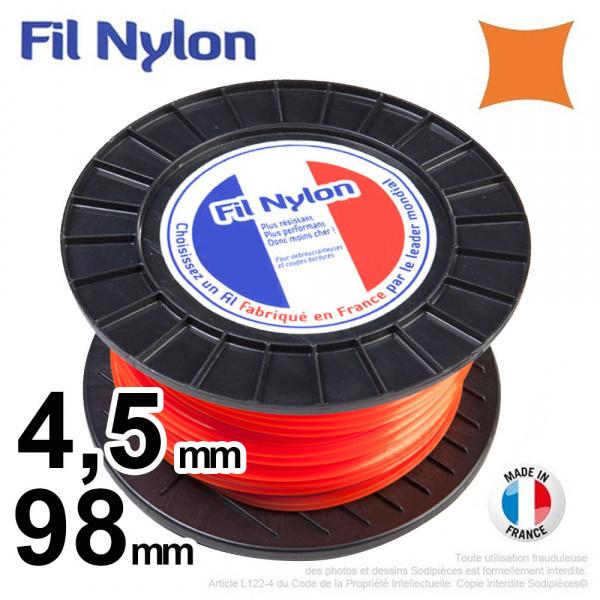 4,5mm x 98m Fil nylon carré pour débroussailleuse