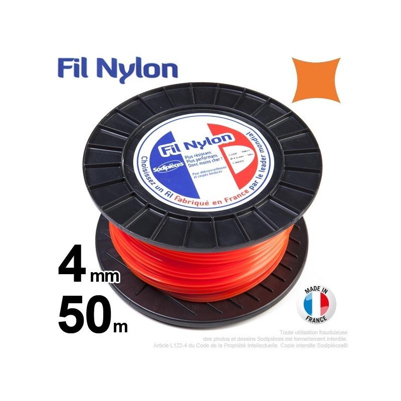 4mm x 50m Fil nylon carré pour débroussailleuse