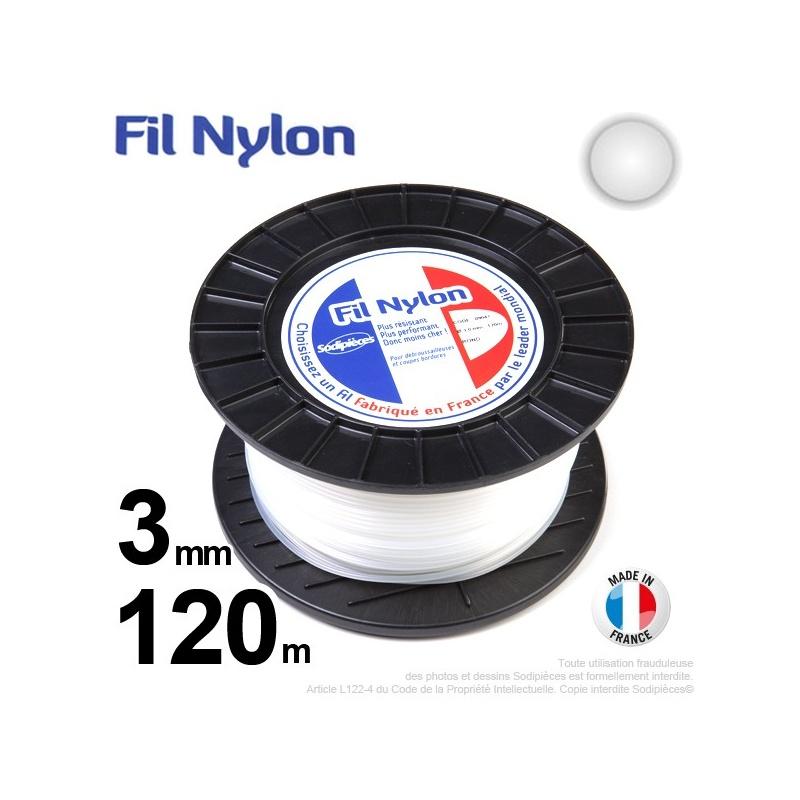 3mm x 120m Fil nylon rond pour débroussailleuse