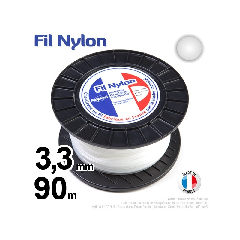 3,3mm x 90m Fil nylon rond pour débroussailleuse