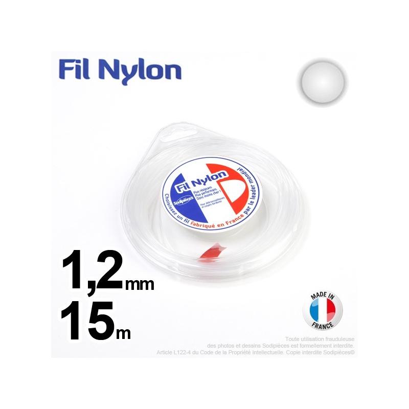 Fil nylon rond 1,2 mm x 15 m pour débroussailleuse – FIL NYLON