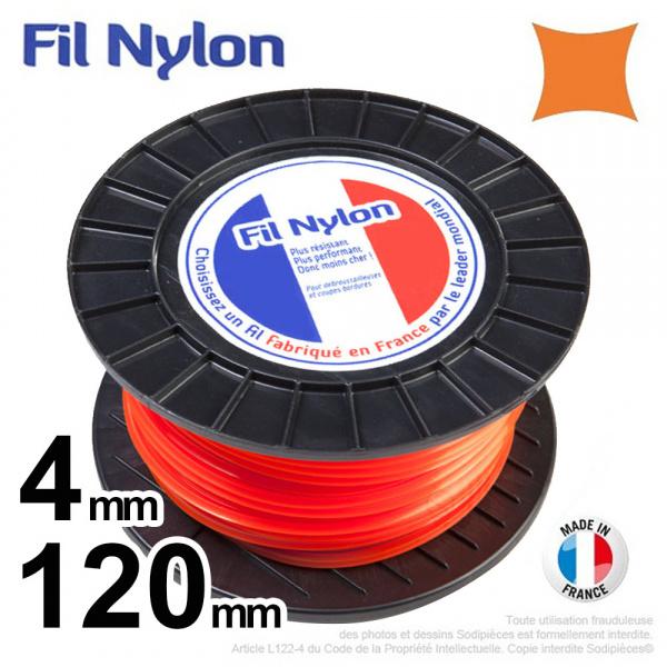4mm x 120m Fil nylon carré pour débroussailleuse