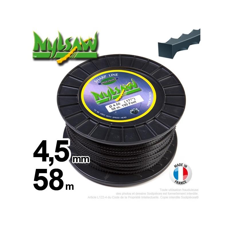 4,5mm x 58m Fil nylon Nylsaw pour débroussailleuse