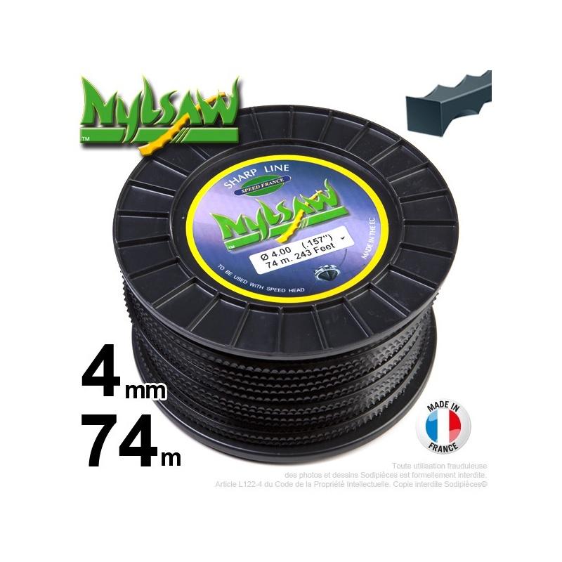 4mm x 74m Fil nylon Nylsaw pour débroussailleuse