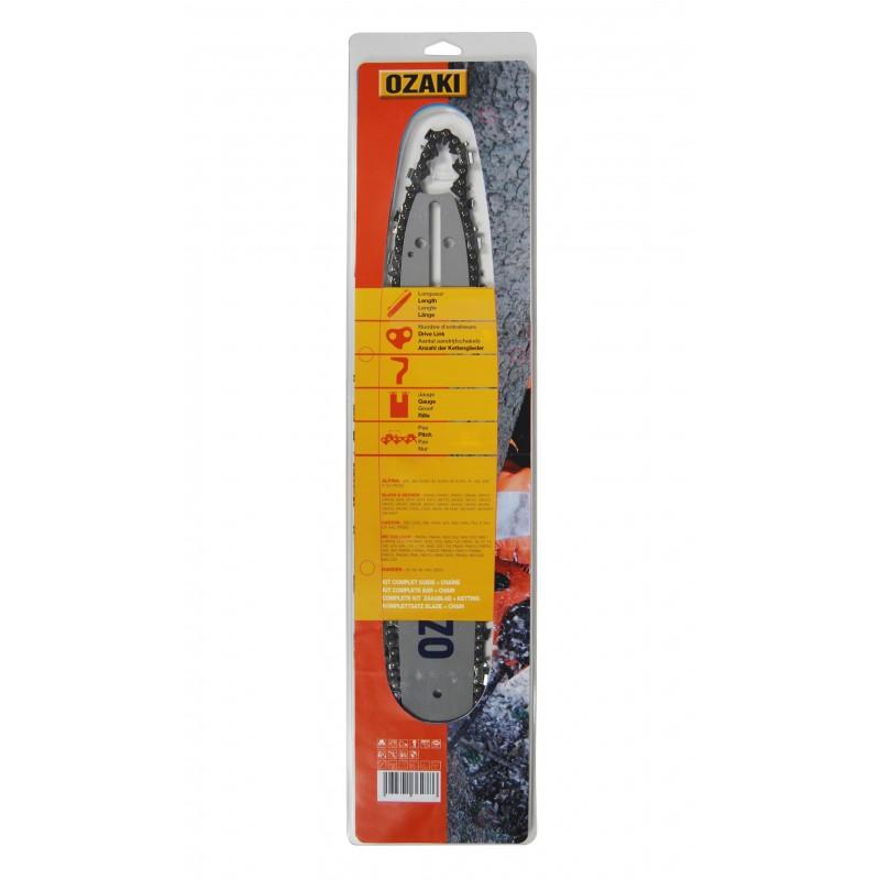Guide 35 cm + chaine 3/8LP, 050 (1,3mm), 50 entraîneurs, Ozaki montage G