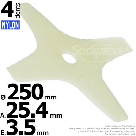 Lame débroussailleuse nylon 4 pointes 250×3,5×25,4