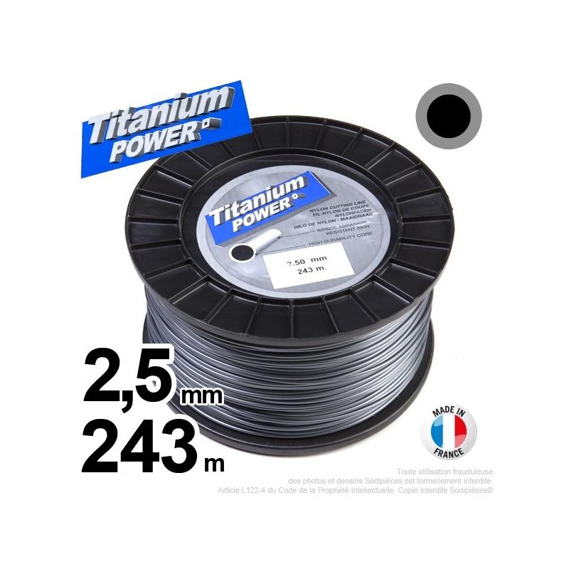 2,5mm x 243m Fil rond Titanium pour débroussailleuse